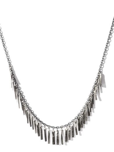 Sia Taylor Silver and white-gold fringe necklace