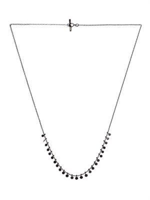 Ruthenium-plated silver medium dots necklace