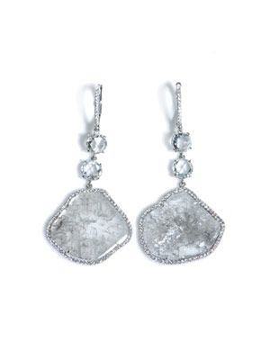 Diamond slice and pavé earrings