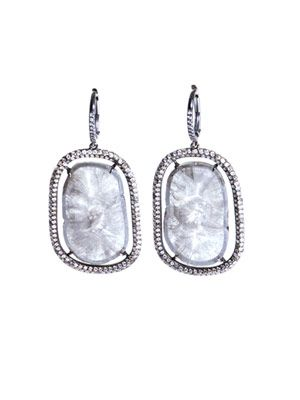 Diamond slice and micro pavé earrings