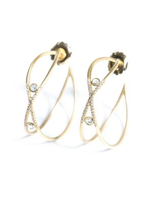 White diamond & yellow gold Love earrings
