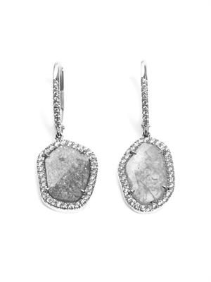 Diamond slice and white gold earrings