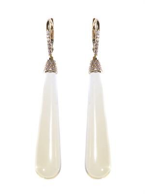 Diamond, lemon quartz & gold earrings