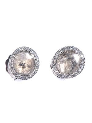 Diamond slice & white-gold stud earrings