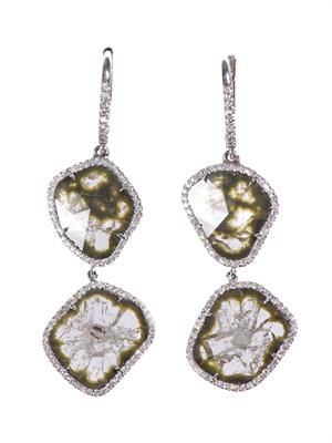Diamond slice & white-gold earrings
