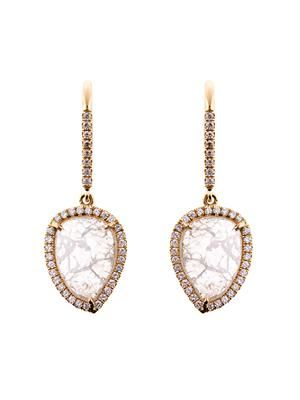 Diamond slice & yellow-gold earrings