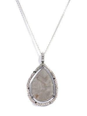 Diamond slice & micro pave diamond necklace