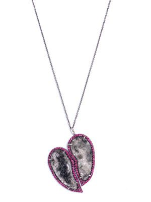 Black diamond slice & ruby heart necklace