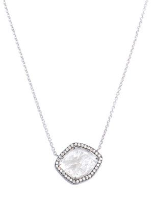 White diamond slice & pave diamond necklace