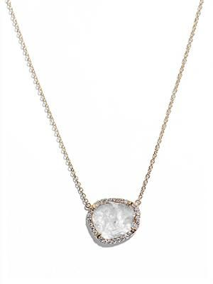 Diamond slice and yellow gold necklace