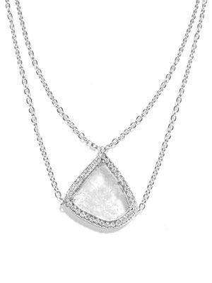 Diamond slice and white gold necklace
