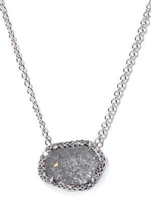 Diamond slice & white-gold necklace