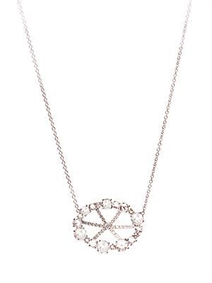 Diamond & white-gold basket necklace