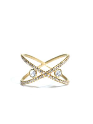 White diamond and yellow gold Love ring