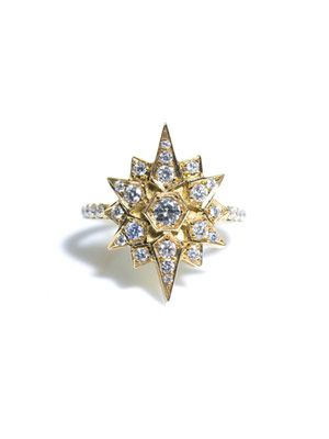 White-diamond and gold star ring
