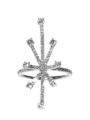 White-diamond & white-gold starburst ring