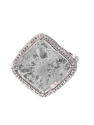 Diamond slice & white-gold ring