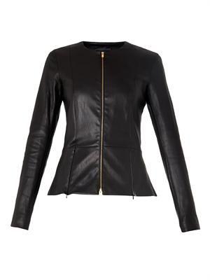 Anaste collarless leather jacket