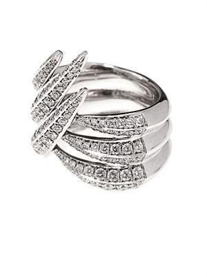 Diamond and white-gold sabre ring