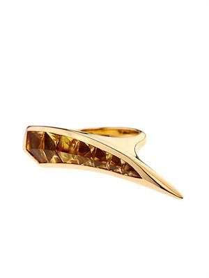 Citrine and yellow-gold sabre ring