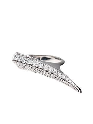 Diamond & white-gold sabre ring