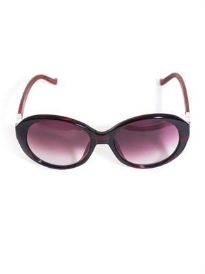 Oval acetate and leather sunglasses