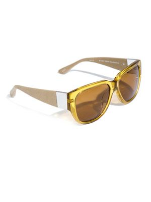 Thick square acetate and leather sunglasses