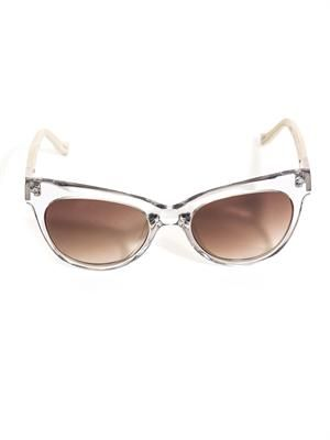 Cat eye leather arm sunglasses