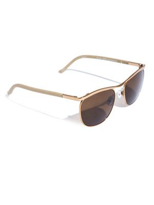 Club master style metal and leather sunglasses