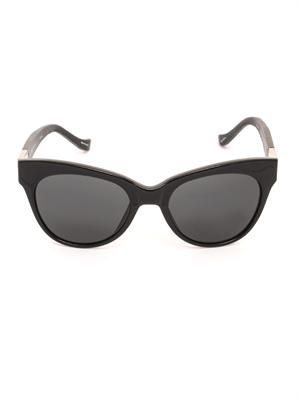 Cat-eye acetate and leather sunglasses
