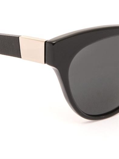 The Row Cat-eye acetate and leather sunglasses