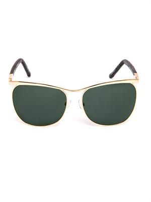 Gold-tone metal and lizard sunglasses