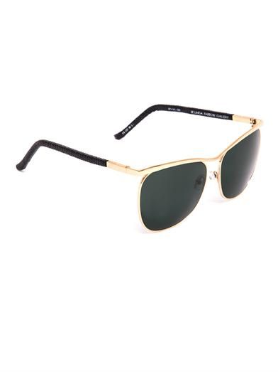 The Row Gold-tone metal and lizard sunglasses