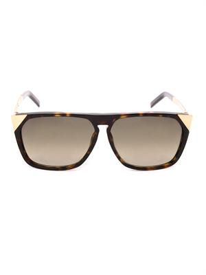 Straight-top tortoiseshell sunglasses