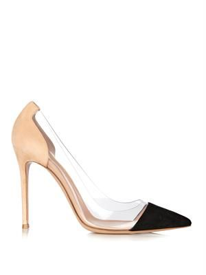 Plexi suede and PVC colour-block pumps