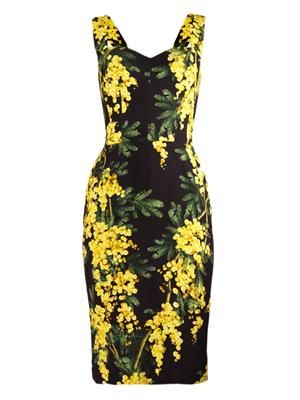 Mimosa-print cady dress