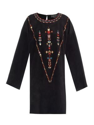 Maggy embroidered suede dress