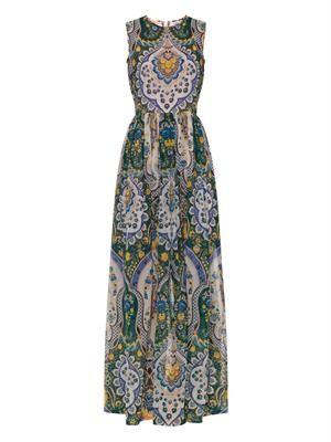 Floral paisley-print midi dress