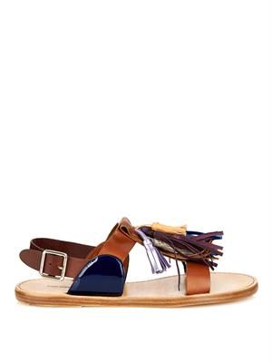 Clay tassel leather sandals