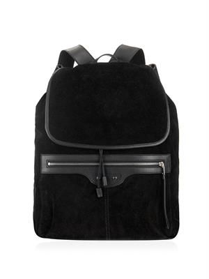 Traveller suede and leather backpack