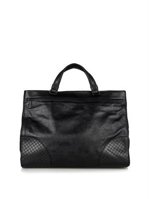 Intrecciato leather day bag