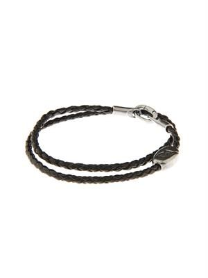 Intrecciato silver and leather bracelet
