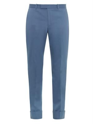 Stretch-gabardine cuffed riding trousers