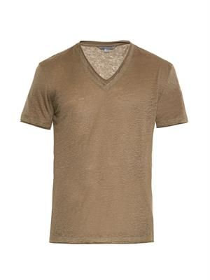 V-neck linen-jersey T-shirt