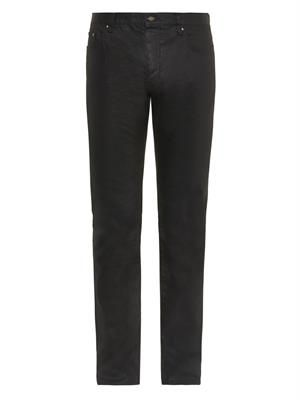 Coated slim-leg jeans