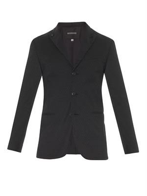 Peak-lapel diamond-jacquard jacket
