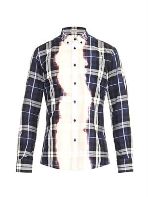Bleached checked cotton shirt