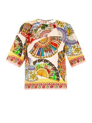 Fan-print cotton top