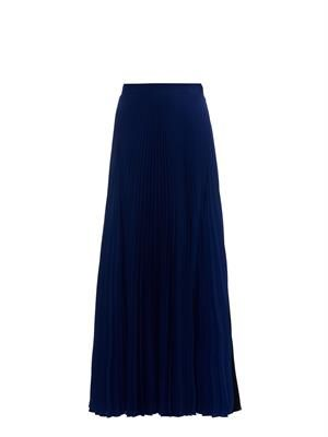Bi-colour pleated crepe maxi skirt