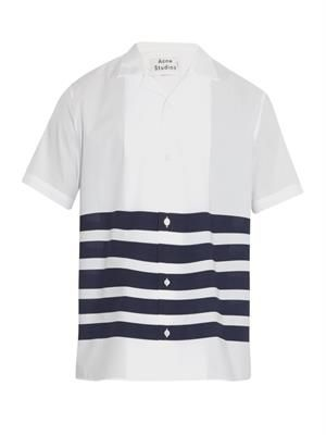 Ody striped short-sleeved cotton shirt